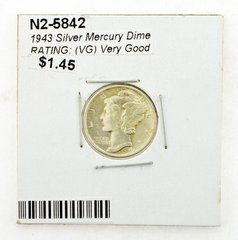 1943 Silver Mercury Dime RATING: (VG) Very Good