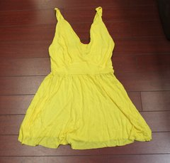 Instrospect Women Knot-Strap Babydoll Tank Yellow Size Juniors S