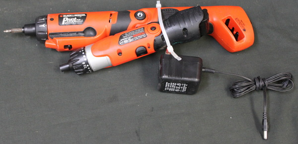 Black and Decker Pivot Plus PD600 Type 2 6V Cordless Screwdriver Drill Driver & Black and Decker 9078 Pivot Driver Screwdriver 3.6V with charger Electric Power