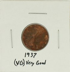 1937 United States Lincoln Wheat Penny Rating (VG) Very Good