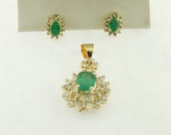 10k Oval Emerald Double Halo Flower Pendant with Matching Earrings