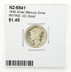1940 Silver Mercury Dime RATING: (G) Good
