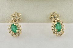 Small Oval Emerald & Diamond Frame Earrings in 10K Yellow Gold