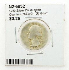 1940 Silver Washington Quarters RATING: (G) Good