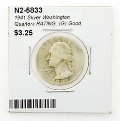 1941 Silver Washington Quarters RATING: (G) Good