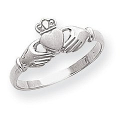 Ladies Polished & Satin Claddagh Ring (JC-048)