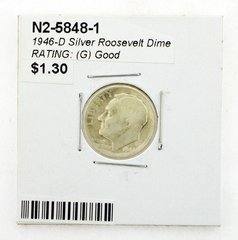 1946-D Silver Roosevelt Dime RATING: (G) Good (N2-5848-1)