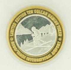 1998 Reno Tahoe Airport Downhill Skier GDC .999 Fine Silver $10 Gaming Token