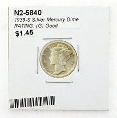 1939-S Silver Mercury Dime RATING: (G) Good