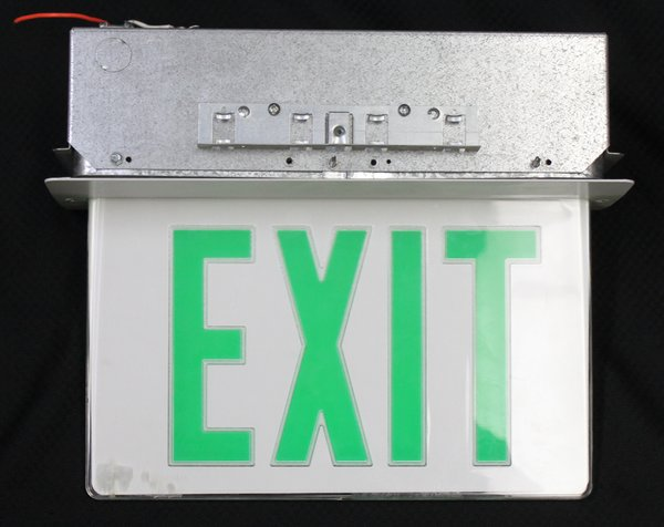 Recessed LED Edge-Lit Green Sign Exit Sign