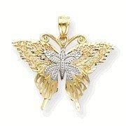 Two Tone Filigree Butterfly Pendant (JC-958)