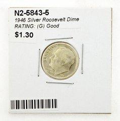 1946 Silver Roosevelt Dime RATING: (G) Good (N2-5843-5)