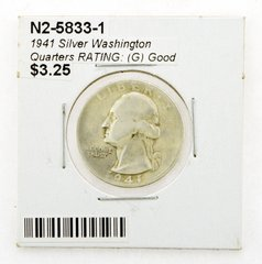 1941 Silver Washington Quarters RATING: (G) Good (N2-5833-1)