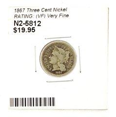 1867 Three Cent Nickel RATING: (VF) Very Fine