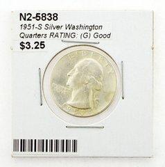 1951-S Silver Washington Quarters RATING: (G) Good
