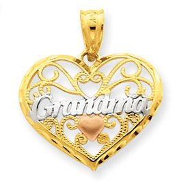 Three Tone Grandma Heart Pendant (JC-105)