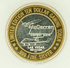 "$10 MCCARRAN SILVER STRIKE ""WELCOME TO FABULOUS LAS VEGAS"" .999 SILVER TOKEN"