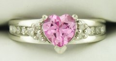 10K White Gold Pink Tourmaline and Diamond Ring