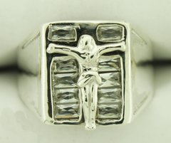 Gents 0.925 Sterling Silver & CZ Crucifix Ring