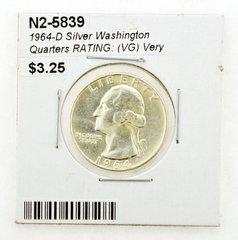 1964-D Silver Washington Quarters RATING: (VG) Very Good