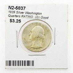 1939 Silver Washington Quarters RATING: (G) Good