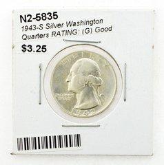 1943-S Silver Washington Quarters RATING: (G) Good
