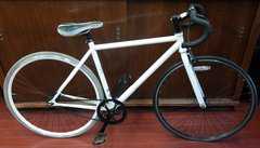 """White 26"""" Fixed Gear Single Speed Durable Steel Frame Cruiser City Road Bicycle"""