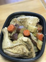 Greek Chicken Quartets w/ Garlic Roasted Vegetables