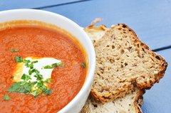 Tomato Soup w/ Basil & Mozzarella