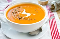 Roasted Carrot and Ginger Soup with coconut Creme - Vegan