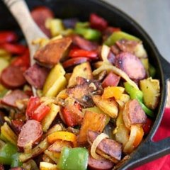 Blackened Kielbasa w/ Peppers & Onions