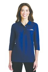 Ladies Navy Silk Touch 3/4-Sleeve Polo