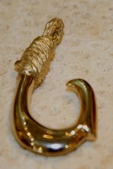 Mini 14K Yellow Gold Fish Hook Pennant Outside Barb