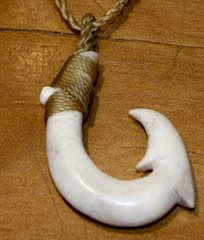 Hawaiian Fish Hook Moose Antler Double Barb Necklace