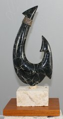 "Mini Bronze Hawaiian Circle Fish Hook Sculpture ""Black Thunder"""