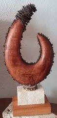 """""""Off the Chain"""" Island Fish Hook Sculpture Keys Wild Tamarind Stihl Chainsaw Blade Antler Rosette"""