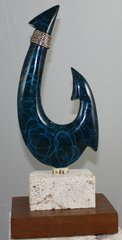 "Mini Bronze Hawaiian Circle Fish Hook Sculpture ""Blue Thunder"""