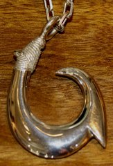Large Sterling Silver Hawaiian Fish Hook Pendant