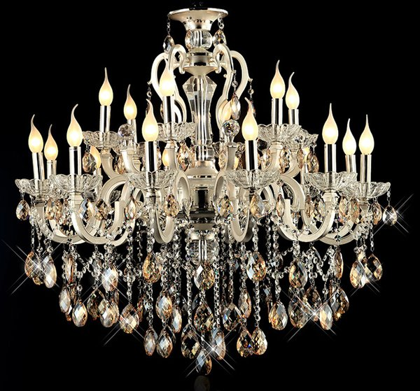Modern large 18 arms gold crystal chandelier light amber crystal modern large 18 arms gold crystal chandelier light amber crystal aloadofball Gallery