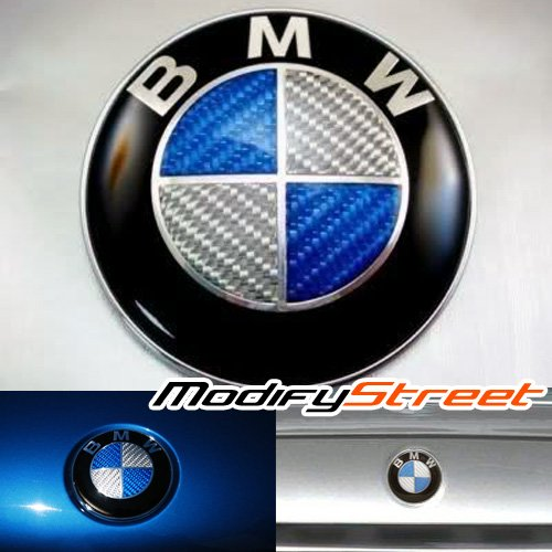 Bmw Carbon Fiber 74mm Hood Trunk Emblem New With Roundel Blue Sil