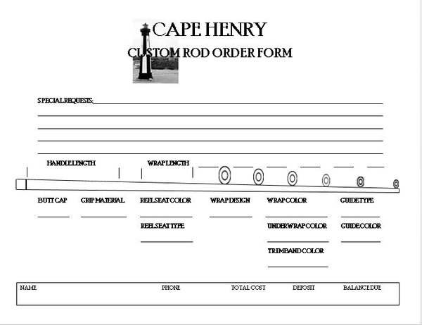 Custom Rod Order Form For The Saltiga Ballistic Blank  Cape Henry