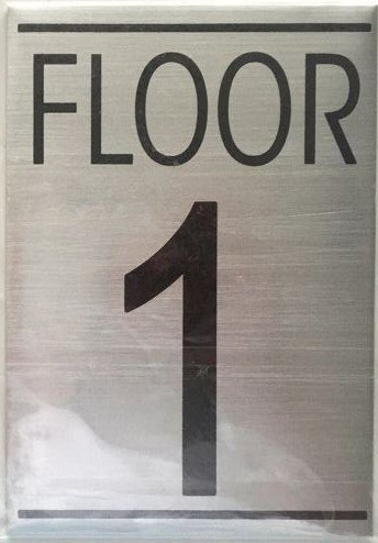 Nyc hpd floor number one 1 sign brushed aluminum for Floor number sign