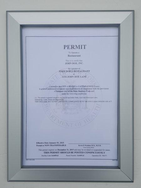 Restaurant Permit Frame 8.5 x 11( Heavy Duty)   HPD SIGNS -THE ...