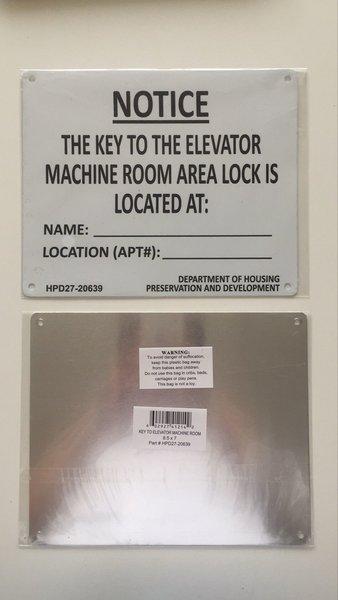 elevator machine room signs