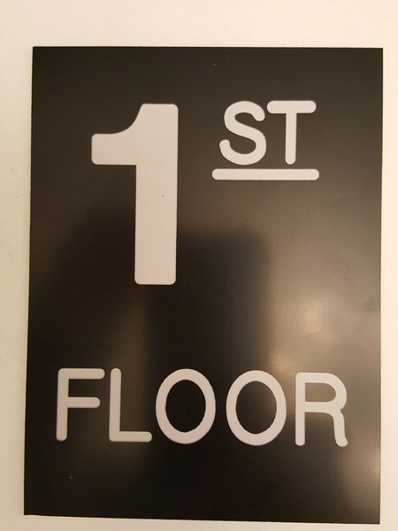 Floor number 1 sign engraved plastic hpd signs the for Floor number sign