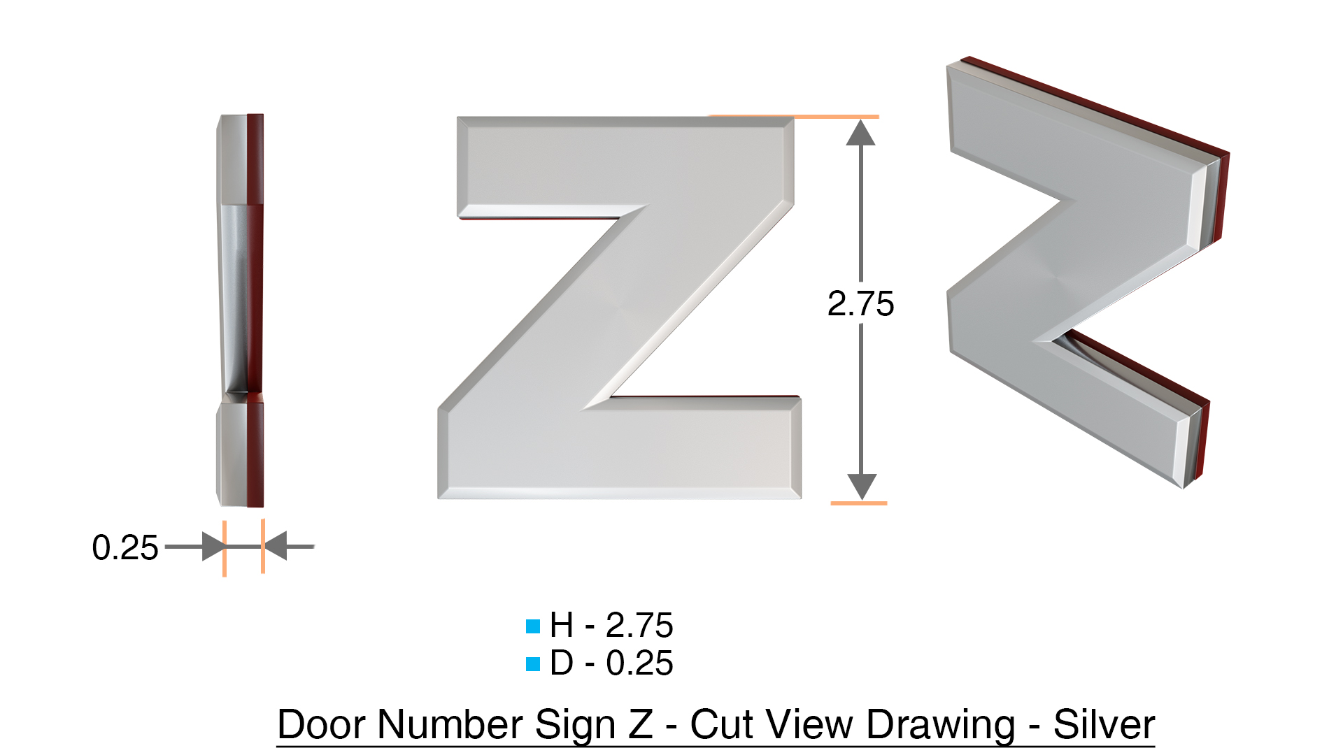 z- APARTMENT, DOOR AND MAILBOX LETTER Z SIGN - LETTER SIGN Z- SILVER (HIGH  QUALITY PLASTIC DOOR SIGNS 0.25 THICK)