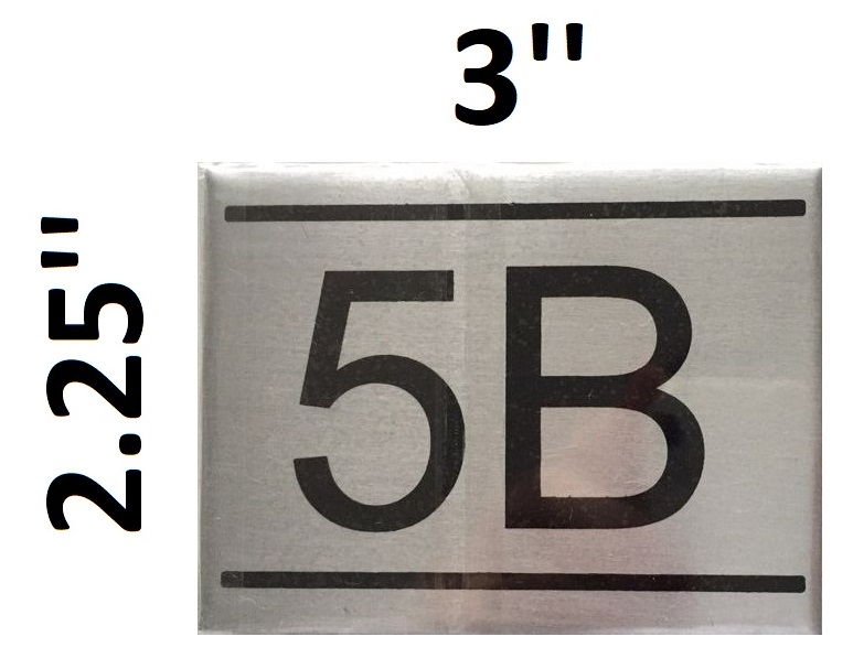dob nyc apartment number sign 5b brushed aluminum 2 25x3 hpd