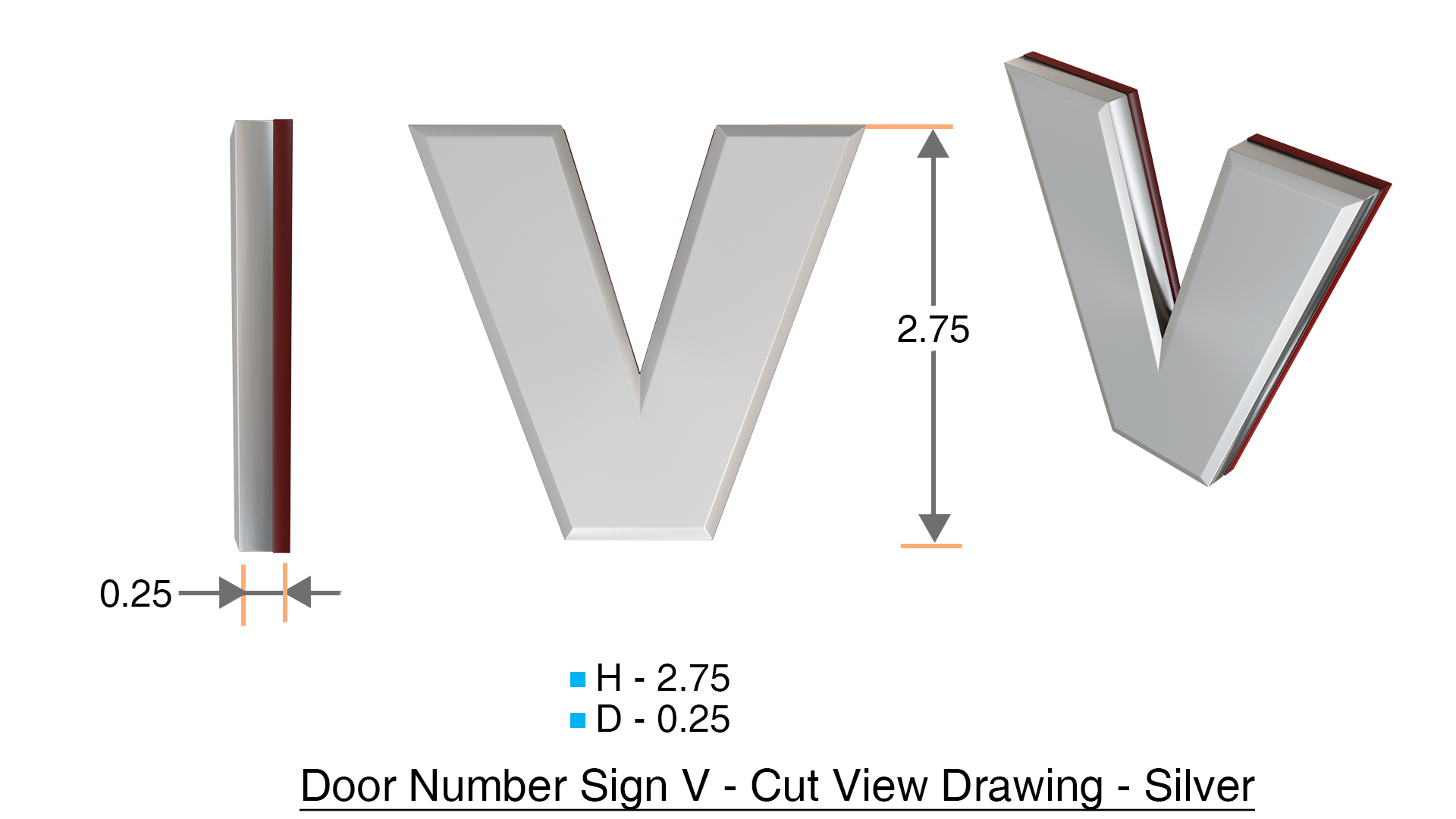 z- APARTMENT, DOOR AND MAILBOX LETTER V SIGN - LETTER SIGN V- SILVER (HIGH  QUALITY PLASTIC DOOR SIGNS 0.25 THICK)
