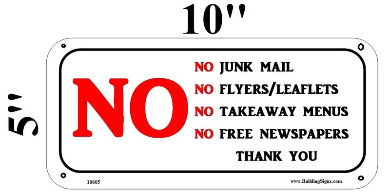 no junk mail sign sturdy hpd aluminum sign ideal for use in nyc