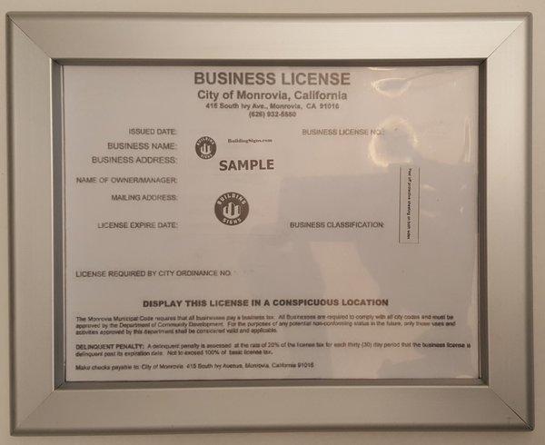 Business License Frame Ca 8 5x11 Heavy Duty Hpd